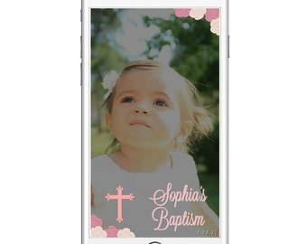 Baptism Geofilter Christening Cross Pink or Blue Ivory Cream Roses