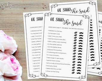 He Said She Said Bridal Shower Game - INSTANT DOWNLOAD - Printable Wedding Shower Games / Sassaby Weddings