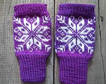 Norwegian gloves, fair Isle purple fingerless gloves, wool gloves, wool mittens, women mittens, norwegian gloves, scandinavian