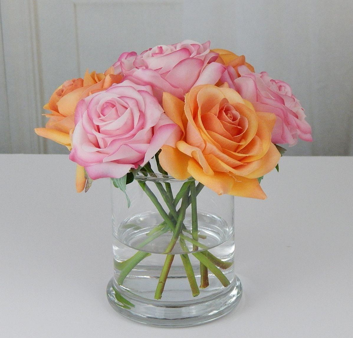 Pinkorange roseroses glass vase faux water acrylic illusion pinkorange roseroses glass vase faux water acrylic illusion silk real touch flowers floral arrangement centerpiece waterlook reviewsmspy