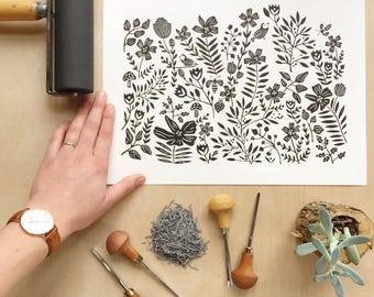 Nature Print, Black Art Print, Linocut, Linocut Prints, Nature Art, Lino Print, Botanical Print, Floral Art Print, Black Artwork Block Print
