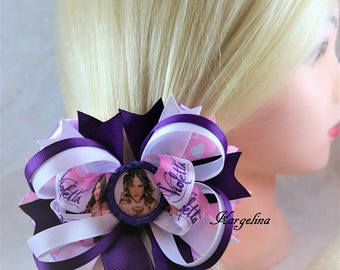 Girls hair bows Big Hair Bow Boutique hair bows Headband, Babies Violetta Disney Hair Bow, handmade bows for gift, Violetta birthday party
