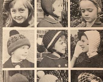 Children Hats Knitting Pattern, Hayfield Knitting Pattern, Childrens Helmet, Childrens Hats, Snowflake Hat, Stripe Hat, 10-14 years No. 7012