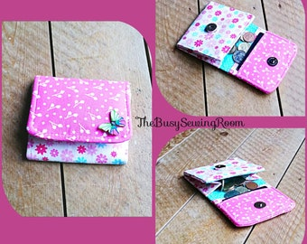 Pink Ladies Wallet, Coin Purse, Girls Purse, Girls Wallet, Card Slots, Flowers, Butterfly Button, Gift for Her