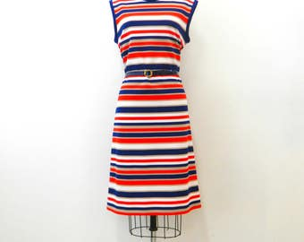 Vintage 1960s Striped Shift Dress...Anjac Fashions Sleeveless Day Dress...Belted Red, Navy Blue, and Beige Striped Dress...Size Medium...NWT