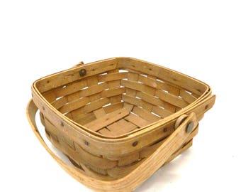 Vintage 1980s Longaberger Basket...Small Square Handled Basket...Storage Display Basket...Signed...Woven Basket...1986