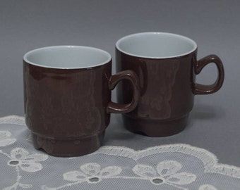 Vintage tea cup set of 2 Egersund Norway Korulen series stoneware stackable mugs chocolate brown cups made in Sweden