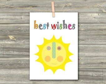 DIGITAL CARD  Sun best wishes download card Greeting Card for Her  Card for Him card for friend