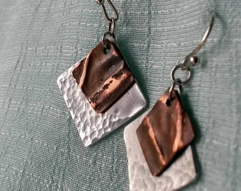 Mixed metal fold formed copper aluminum tipped square dangle earrings