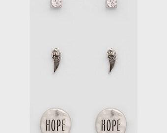 Hope and Angel stud earring set (3 pairs)