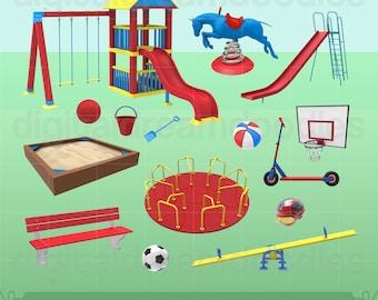Playground Clipart, Playground Clip Art, Slide Graphic, Merry Go Round Image, Seesaw Scrapbook, Play Ground Park Sand Box, Digital Download