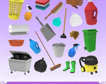 Cleaning Clipart, Spring Cleaning Clip Art, Housework Graphic, Chore Image, Vacuum Scrapbook, Laundry Bin, Trash Bag, Soap Digital Download