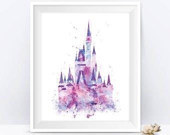 Cinderella Castle Art Watercolor Print, Princess Castle, Disney Castle Wall Art Disney Gift Baby Nursery Decor Gift For Mom Digital Download