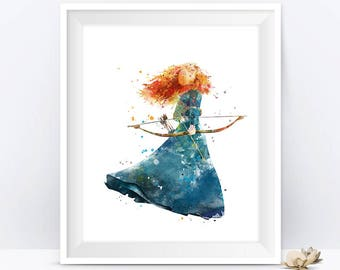Merida Art Merida Print Watercolor Painting Disney Princess Brave Merida Printable Nursery Merida Wall Decor Gift For Mom digital download