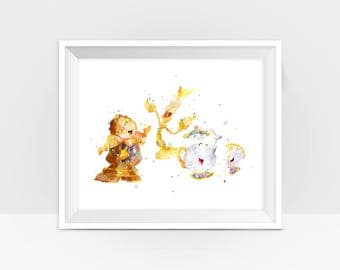 Beauty and the Beast Lumiere Cogsworth Print Beauty and the Beast Party Belle Disney Princess Nursery Art Print Wall Art Digital Download