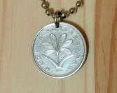 Hungary coin necklace, 2 Forint Hungary coin pendant, Hungarian flower necklace, crocus flower coin pendant necklace.
