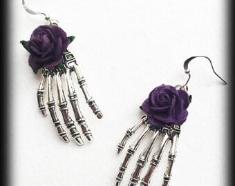 Gothic Skeleton Earrings, Silver Skeleton Hands, Purple Roses, Gothic Jewelry Gift, Handmade Earrings, Halloween Jewelry, Alternative