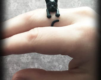 Black Cat Ring, Cat Wrap Ring, Gothic Jewelry, Witch Pagan Wiccan Jewelry, Alternative Jewellery, Lucky Black Cat Ring, Witch's Cat Ring