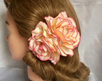 "Cream rose hair clip - the ""Rosalita"" - Double rose pin up hair flower, hair clip, vintage style, 40s, 50s - PINK BLUSH"