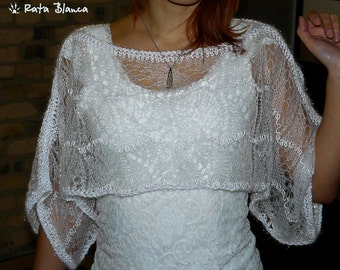 White  wool bolero Handmade bridal lace light  shrug Transparent knitted wedding warm top poncho jumper sweater knitwear