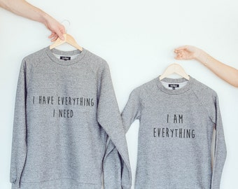Couple sweaters, sweatshirt pullover, pullover hoodie, long sleeve tshirt, gray sweater, birthday gift for him, birthday present