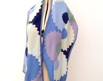 Art Deco silk scarf Liberty & Co 1970s geometric design vintage