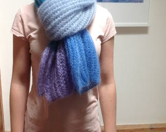 Patent knitted scarf mohair and silk yarn light blue turquoise lilac silk scarf
