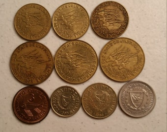 10 cyprus & central african states vintage coins 1955 - 1992 - coin lot francs - world foreign collector money numismatic a87