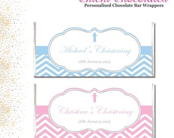 Personalised Pink and White or Blue and white Chevron Printable Chocolate Bar Wrapper for Christening. Digital Download.