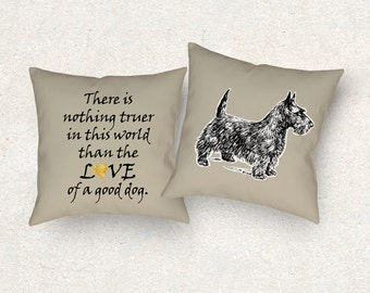 Scottie dog pillow. Scottish Terrier dog cushion. 18x18 Throw pillow. Dog lover gift. Dog cushion quote. Dog pillow. Dog heart cushion.