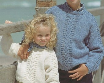 Childrens Sweater PDF Knitting Pattern : Boys or Girls 22, 24, 26, 28 and 30 inch chest . Patterned Jumper . DK . Instant Digital Download