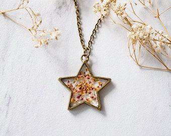 Real Pressed Flower and Resin Star Necklace in Pink Orange Mix