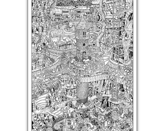 "Tower Mine - GIANT 27""x 40"" Wildergorn Colour-In Poster"