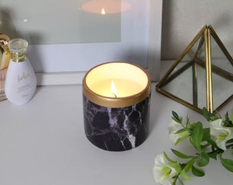 Black Marble Effect Candle
