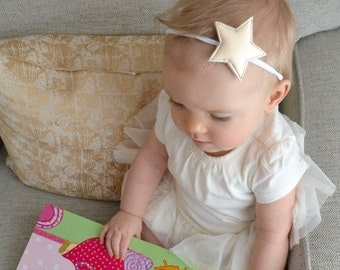 Star Headband - Padded Golden Faux Leather Star