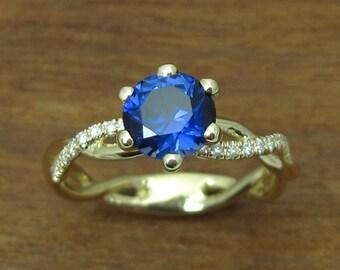 Sapphire Engagement Ring, Sapphire Infinity Ring, Sapphire Anniversary Ring, Rose Gold Diamond Engagement Ring, Infinity Diamond Ring