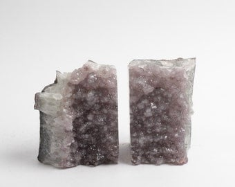 Natural Amethyst Bookend (ambe806) - Crystal Cluster Bookendss - Amethyst Bookends - Natural Stone Decorations - Crystal Decor