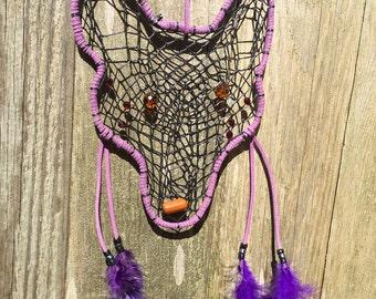 Sale Wolf dream catcher  Dreamcatcher  Home decor wolf  Purple dream catcher  Wall hanging