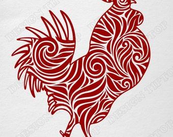 Zentangle SVG, zen rooster, chinese symbol 2017, Christmas design, New Year design, t shirt design, wall sticker, Cricut, Silhouette