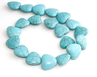 18mm Turquoise Heart Beads, Heart Turquoise, Natural Beads, Gemstone, Full Strand (20 Pieces), sku/MRY122