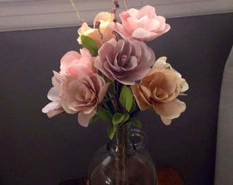 Burlap & Lace Floral Arrangment in Glass Jug with Handle / Coffee Filter Flower Arrangement / Paper Roses