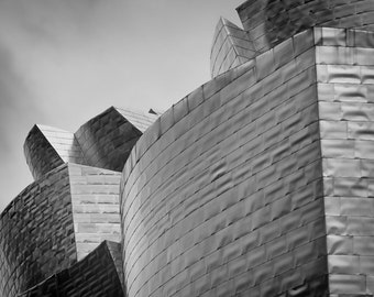 Bilbao Spain, Guggenheim Bilbao, black and white photography, architecture art print, fine art photography, black and white home decor