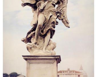 Rome photography, Rome Italy, Ponte Sant'Angelo, Italy wall art, fine art photography, angel statue, travel photography, 16x24 art print