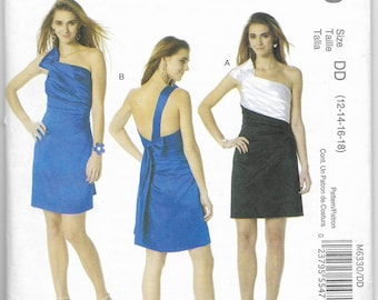 Misses Evening Prom Party Dresses Sewing Pattern McCalls M6330 Sizes 12-14-16-18 Cute One-shoulder Dresses Phoebe Couture