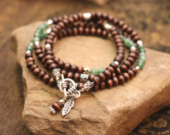 SALE! Wrap Bracelet - Moss Agate // Walnut Wood