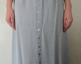 Vintage Sky Blue Button Down Skirt