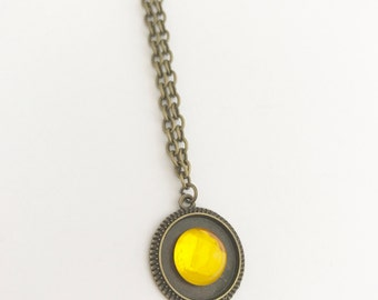 Handmade Bubble Circle Steampunk Vintage Style Yellow Bronze Coated Necklace