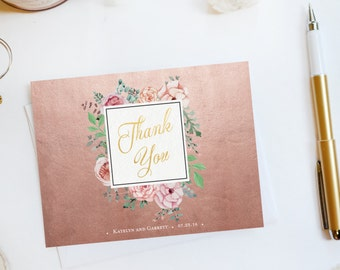 Wedding Thank You Card, Custom Photo Wedding Thank You Cards Gold Foil Wedding Thank You Cards Vintage Gold Foil Wedding Cards Katelyn4