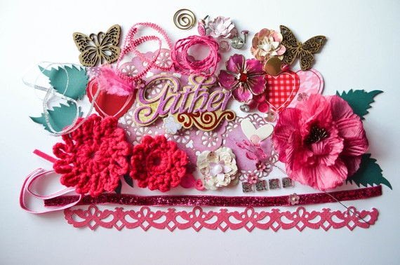 Pink Explosion Scrapbook Supplies Kit: 12x12 Papers, 3D Embellishments, Handmade Flowers, Chipboard, Ribbon, Hearts, Buttons, Borders  Ask a question