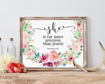 Wall Art Bible Verse, She Is Far More Precious Than Jewels, Proverbs Printable, Proverbs 31:10, Scripture Prints, Christian Art, Watercolor